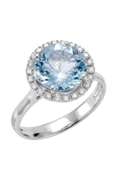 anello Blu Water acquamarina e brillanti BIBIGI' kt.0.17 Aq. kt. 0.60
