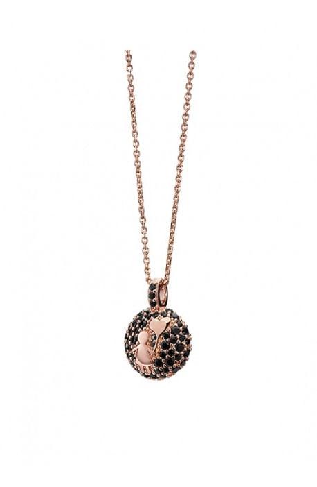 Aquaforte, collana porta dentino - bimbo, rose gold strass scuri