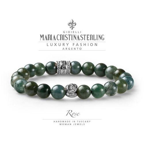Bracciale Argento e agata verde elastico Rose  - M.C. Sterling