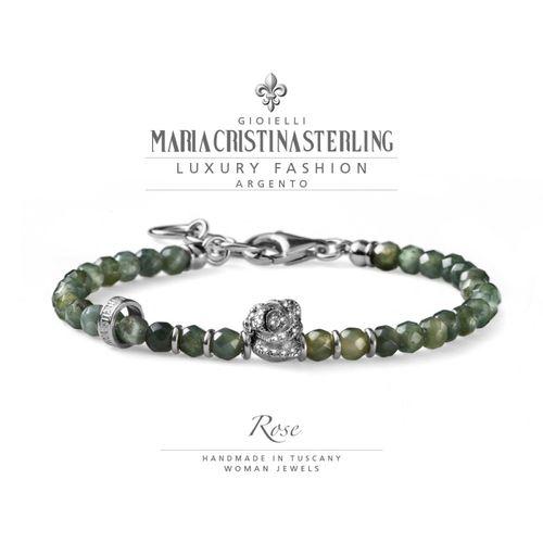 Bracciale Argento e agata verde Rose - M.C. Sterling
