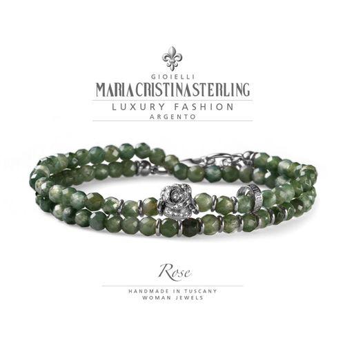 Bracciale Argento e agata verde Rose due giri- M.C. Sterling