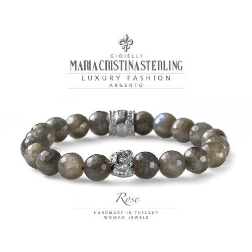 Bracciale Argento e labradorite elastico Rose  - M.C. Sterling