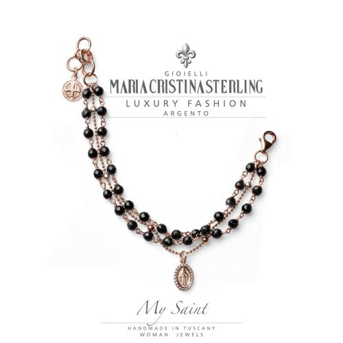 Bracciale Argento rosa agata nera My Saint - M.C. Sterling