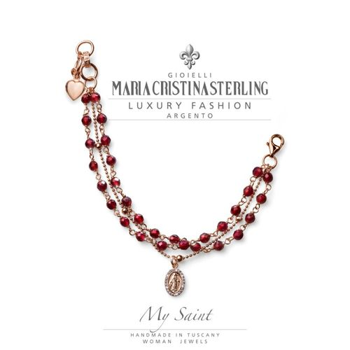 Bracciale Argento rosa agata rubino My Saint - M.C. Sterling