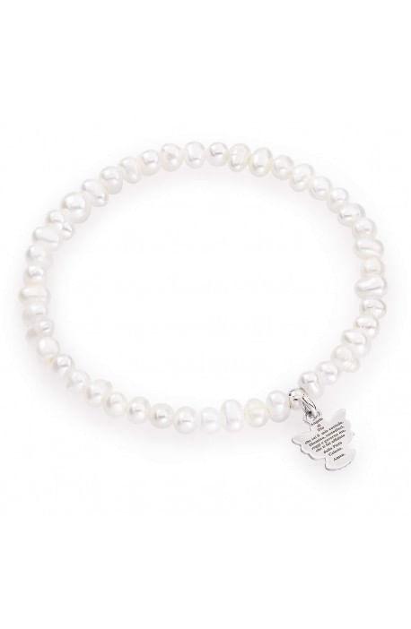 Bracciale perle di fiume tonde 4-5 mm + Argento rodiato AMEN