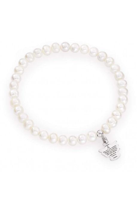 Bracciale perle di fiume tonde 5-6 mm + Argento rodiato AMEN