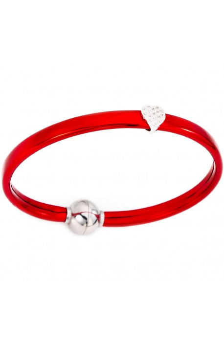 Bracciale rosso Argento + termoplastica e zirconi bianchi 18 cm AMEN