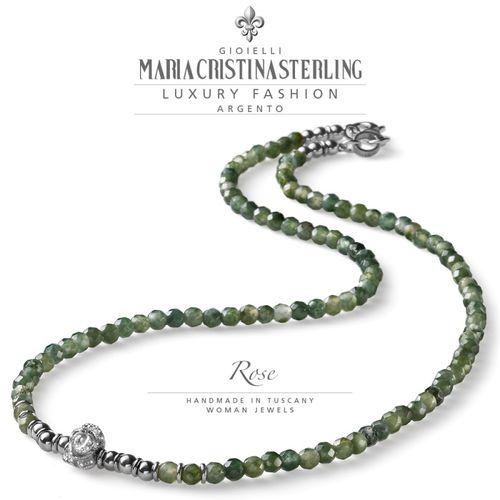 Collana Argento e agata verde Rose  - M.C. Sterling