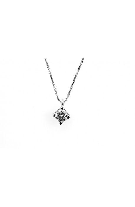 collana diamante a solitario OPERA ITALIANA kt. 0.12 diamante e oro bianco