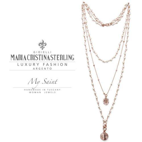 Collana rosario Argento My Saint agata bianca - M.C. Sterling