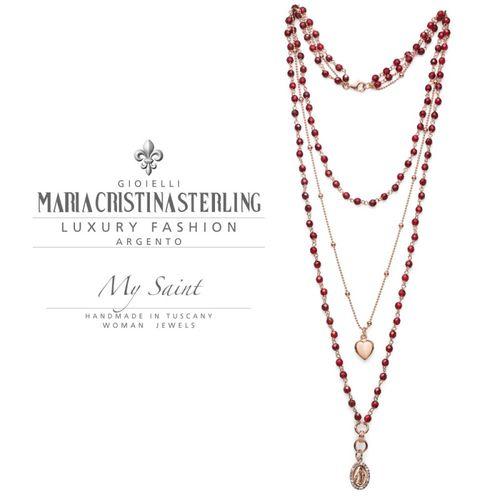 Collana rosario Argento rosa My Saint agata rubino - M.C. Sterling