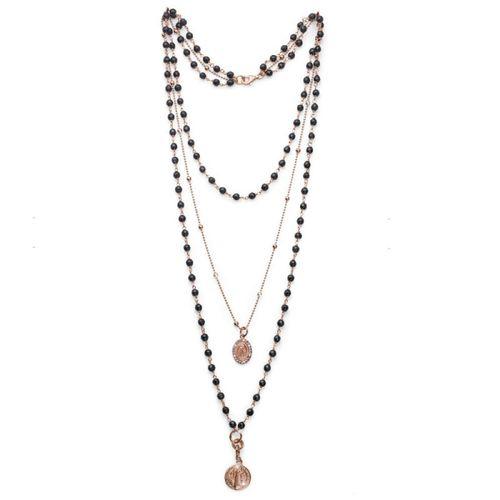 Collana rosario Argento rosa My Saint agata nera - M.C. Sterling