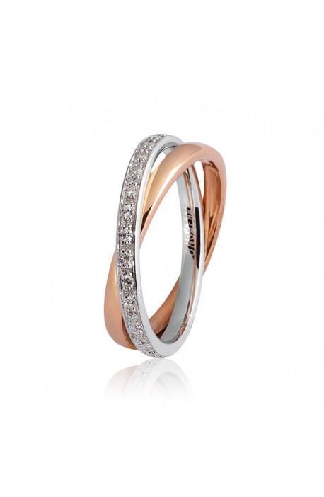 fede matrimoniale PER SEMPRE UNOAERRE oro bianco e rosa diamanti kt. 0.30