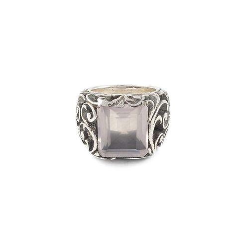 MARIA E LUISA anello in argento con pietra fume mis.14