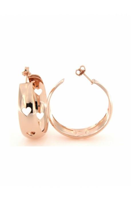 Orecchini argento rosato bombati cerchio con Cuori traforati Rue des Mille - diam. 4 cm