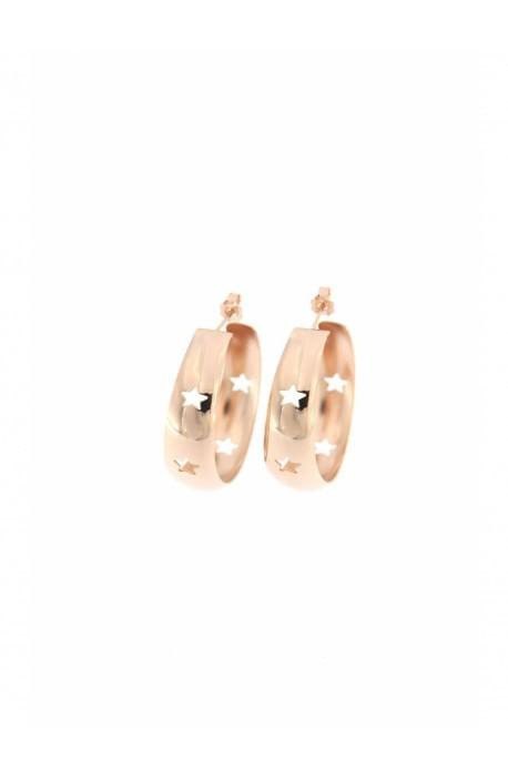 Orecchini argento rosato bombati cerchio con Stelle traforate Rue des Mille - diam. 2,5 cm