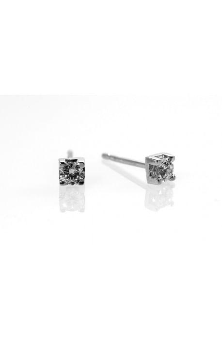 orecchini solitario diamanti OPERA ITALIANA kt. 0.10 diamanti e oro bianco