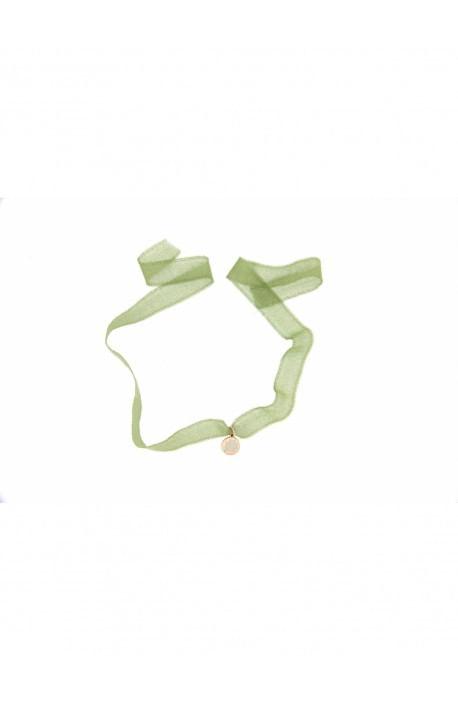 Strangolino tessuto verde chiaro + medaglietta argento Quadrifoglio Rue des Mille