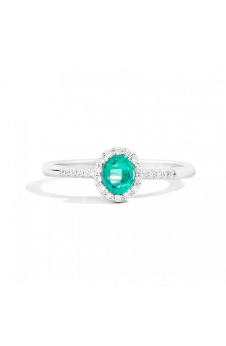 anello oro bianco IRIS RECARLO brillanti kt. 0,10 e smeraldo kt. 0,31