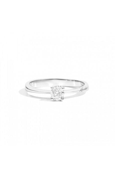 anello solitario MAFALDA di RECARLO brillanti kt. 0,33 e oro bianco