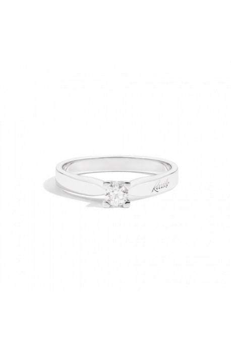 anello solitario MARIA TERESA di RECARLO brillanti kt. 0,18 e oro bianco