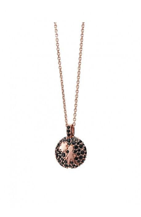 Aquaforte, collana porta dentino - bimba, rose gold strass scuri