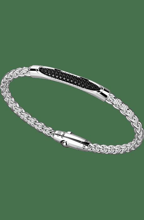 bracciale uomo argento 925 ZANCAN collezione Cosmopolitan barra ovale pavè spinelli