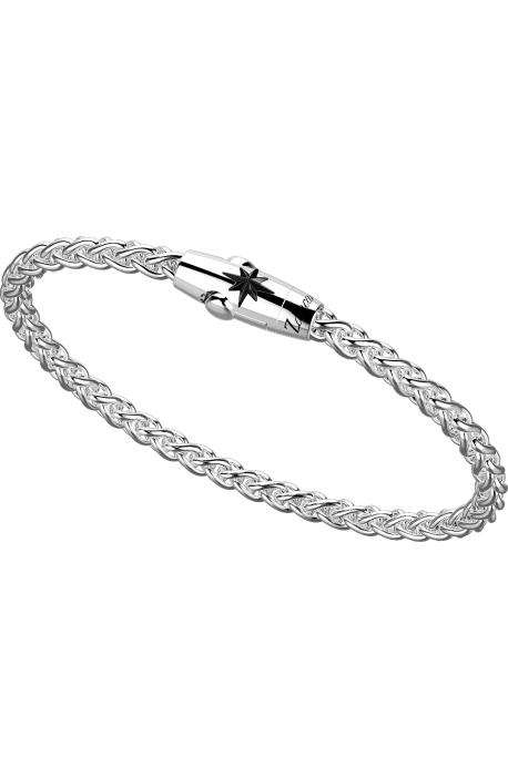 bracciale uomo argento 925 ZANCAN collezione Cosmopolitan catena spiga spinello a stella