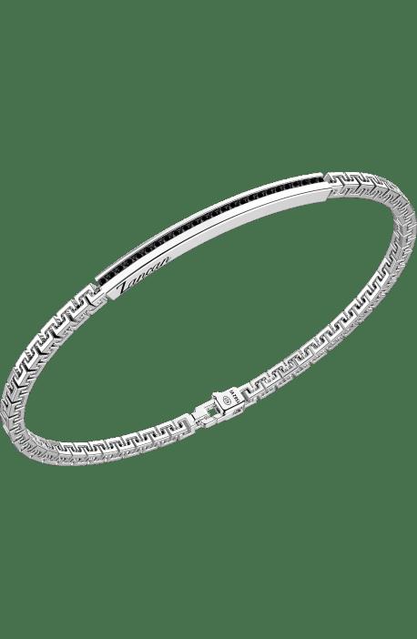 bracciale uomo argento 925 ZANCAN Insigna maglia greca barra spinelli neri