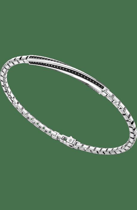bracciale uomo argento 925 ZANCAN Insigna maglia quadra barra spinelli neri torcion