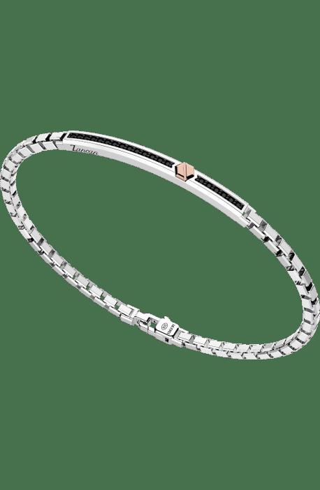 bracciale uomo argento 925 ZANCAN Insigna vite oro rosa maglia quadra barra spinelli neri