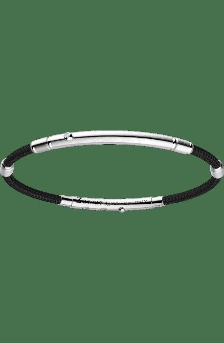 bracciale uomo ZANCAN Robikevlar acciaio argento kevlar nero barra con pietra