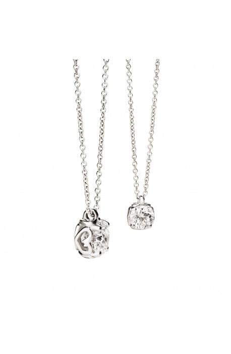 collana ciondolo brillante ANNIVERSARY RECARLO kt. 0,14 diamante e oro bianco