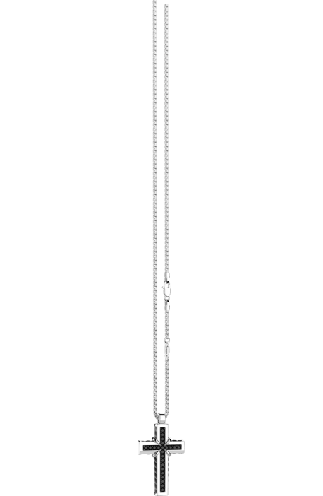 collana croce uomo argento 925 ZANCAN Cosmopolitan spinelli neri EXC 479