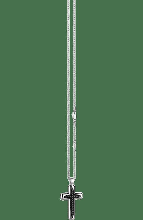 collana croce uomo argento 925 ZANCAN Cosmopolitan spinelli neri EXC 483