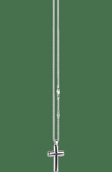 collana croce uomo argento 925 ZANCAN Cosmopolitan spacco e spinello nero