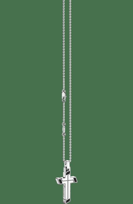 croce argento 925 ZANCAN Insigna spinelli neri con catena EXC 488