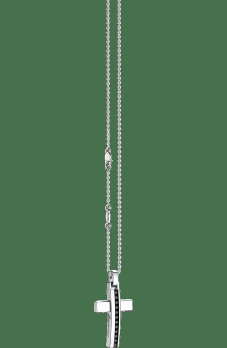 croce argento 925 ZANCAN Insigna spinelli neri con catena EXC 489