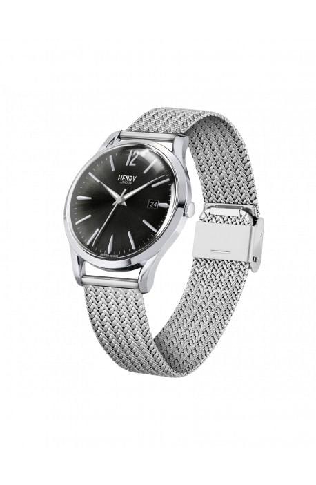 orologio HENRY LONDON Edgware uomo solo tempo quadrante nero cintino metallo