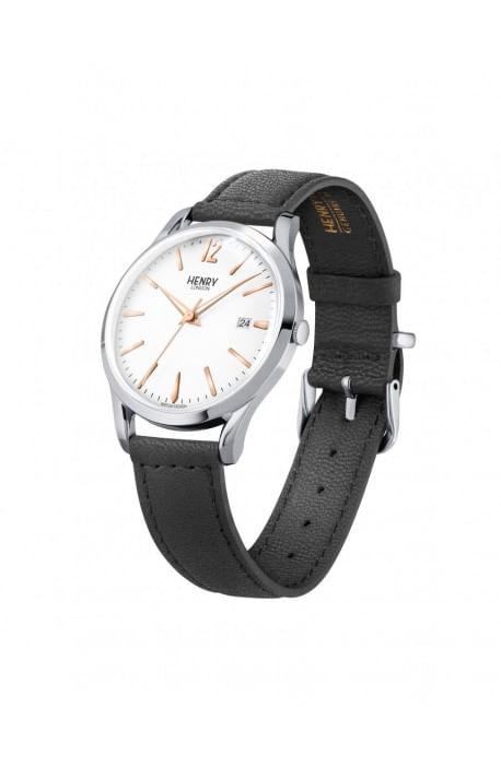 orologio HENRY LONDON Highgate bianco cintino cuoio HL39-S-0005