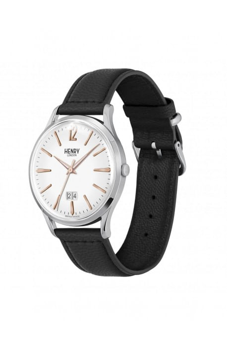 orologio HENRY LONDON Highgate bianco cintino cuoio HL41-JS-0067