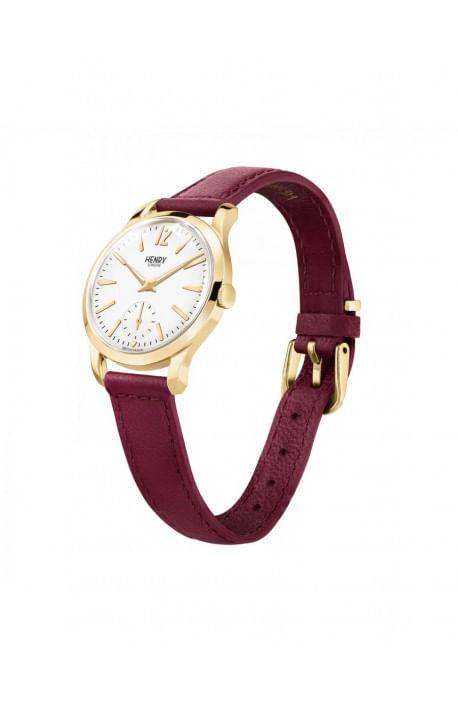 orologio HENRY LONDON Holborn donna quadrante bianco cintino cuoio prugna