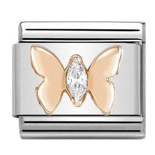 Nomination composable link farfalla rosè