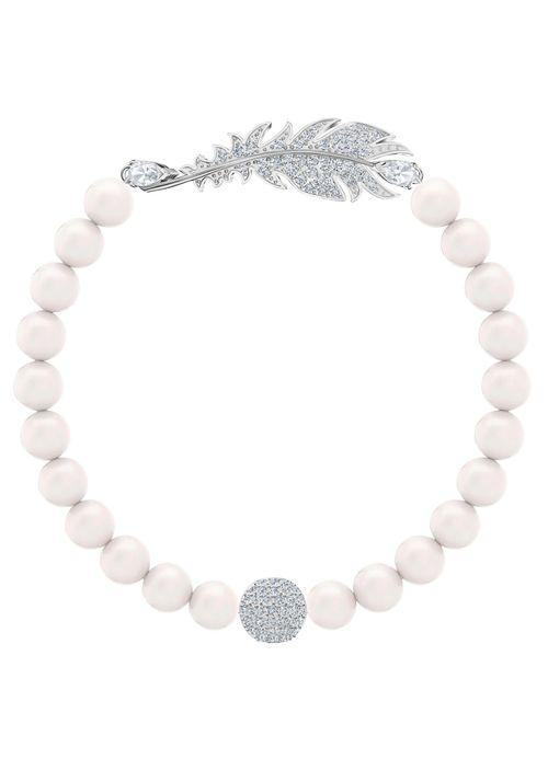 BRACCIALE SWAROVSKI NICE. Perle di colore bianco. Tg. S