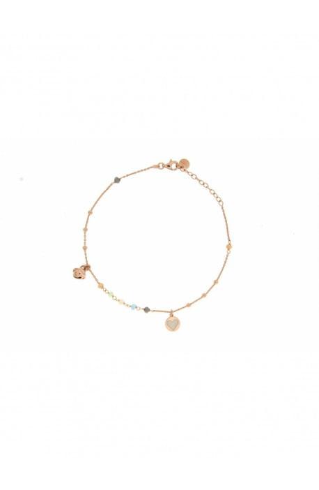 Cavigliera argento catenella + pallini/pietre + medaglietta + campanellino Rue des Mille