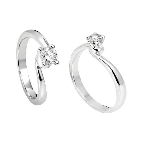 Anello Solitario Antologie Giorgio Visconti diamante kt. 0,30 e oro bianco AB1186C