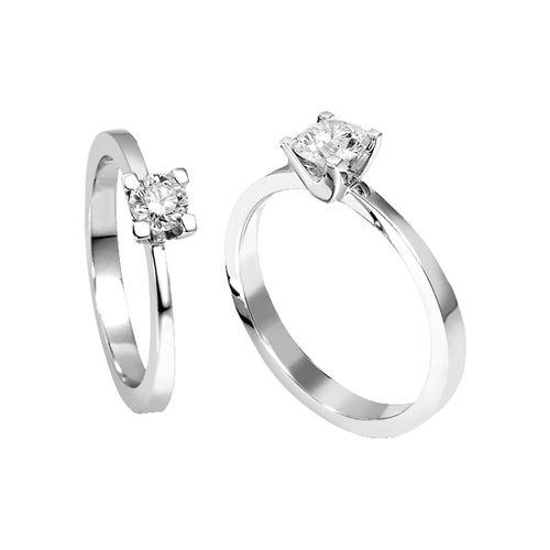 Anello Solitario Antologie Giorgio Visconti diamante kt. 0,05 e oro bianco