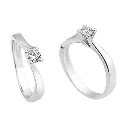 Anello Solitario Antologie Giorgio Visconti diamante kt. 0,10 e oro bianco AB12649A-010