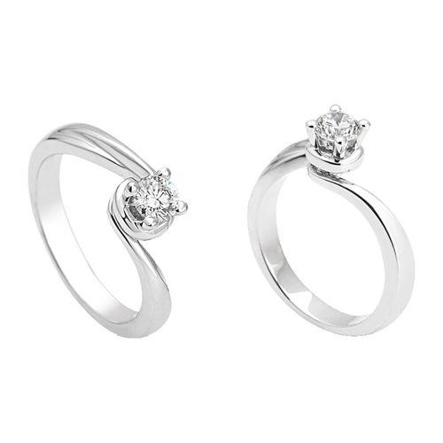 Anello Solitario Antologie Giorgio Visconti diamante kt. 0,15 e oro bianco AB13613A-015