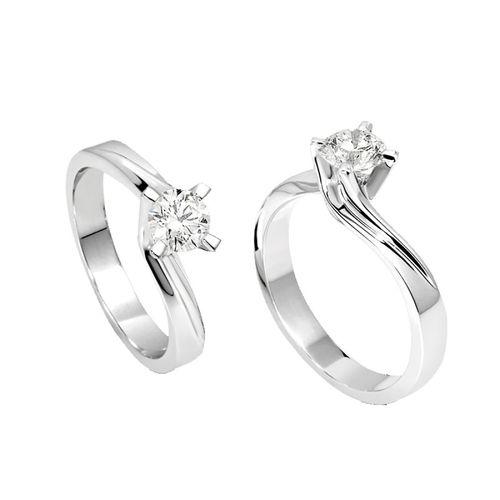 Anello Solitario Antologie Giorgio Visconti diamante kt. 0,10 e oro bianco AB8380B